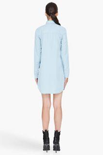 T By Alexander Wang Blue Chambray Shirt Dress for women