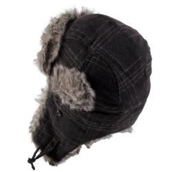Hailey Jeans Co. Womens Plaid Faux Fur Trim Aviator Cap