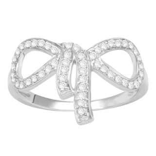 Sterling Silver 1/4ct TDW Diamond Bow Fashion Ring (H I, I3
