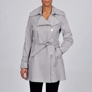Via Spiga Womens Asymmetrical Belted Trench Coat