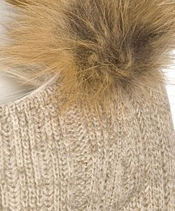 Prada Beige Cashmere Sweater with Fox Fur Trim
