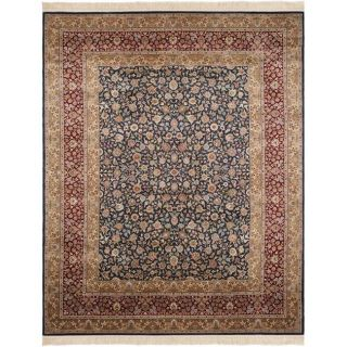 Asian Hand knotted Royal Kerman Blue and Red Wool Rug (6 x 9