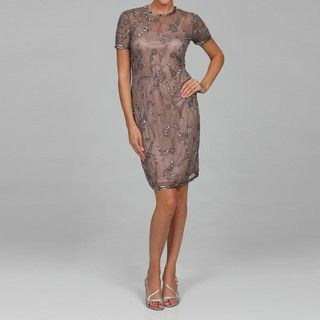 Sophia Christina Womens Grey/ Taupe Beaded Dress