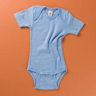 Engel Natur Baby Body Kurzarm, blau/natur geringelt, Größe 62/68