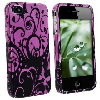 LUXMO Purple/ Black Swirl Snap on Case for Apple iPhone 4/ 4S