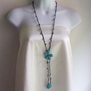 Cotton Turquoise Flower Center Extra Long Drop Necklace (Thailand