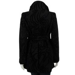 Betsey Johnson Womens Black Velvet Flocked Coat