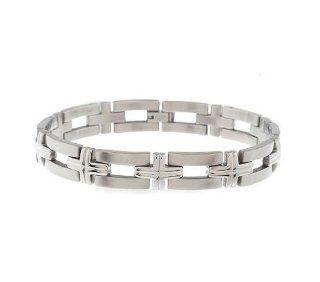 Edforce Stainless Steel Cross Link Bracelet Jewelry