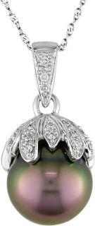 14k Gold Cultured Tahitian Pearl Diamond Pendant