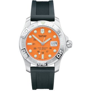 Swiss Army Mens Divemaster 500 Orange Dial Rubber Strap Watch