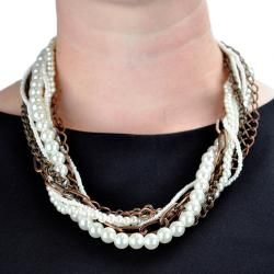 Coppertone Chain Faux Pearl Multi strand Necklace