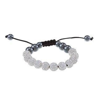 La Preciosa 10mm White Crystal and Hematite Beads w/ Black Cord