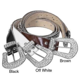 Journee Collection Womens Rhinestone Detailed Leather Belt