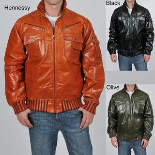 Knoles & Carter Mens Big & Tall Egyptian High Collar Leather Bomber