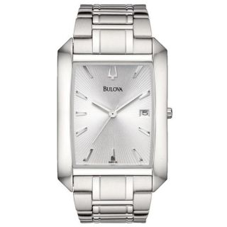 Bulova Mens Stainless Steel Silver Embossed Sunray Dial Watch