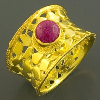 14K Gold over Silver Ruby Reptile Ring (India)