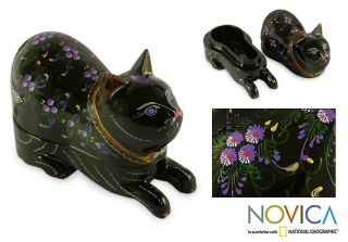 Lacquered Blue eyed Kitty Cat Wood Box (Thailand) Today $20.99 4.0