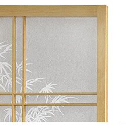 Wood and Rice Paper Bamboo Tree 4 Panel Shoji Screen (China