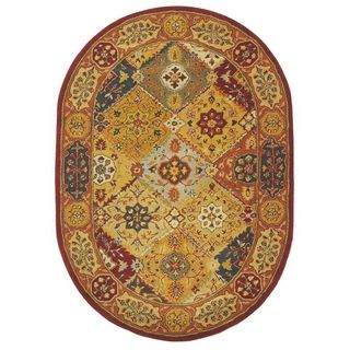 Handmade Diamond Bakhtiari Multi/ Red Wool Rug (46 x 66 Oval
