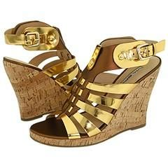 Via Spiga Eddie Spiced Gold Metallic Nappa/Mirror Calf Sandals