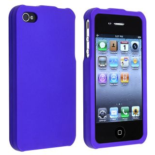 Dark Blue Snap on Rubber Coated Case for APP iPhone 4/ 4S