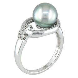 14k White Gold .05ct Diamond and Tahitian Pearl Ring