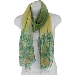 Hand spun Silk Green and Yellow Multi panel Scarf (India)