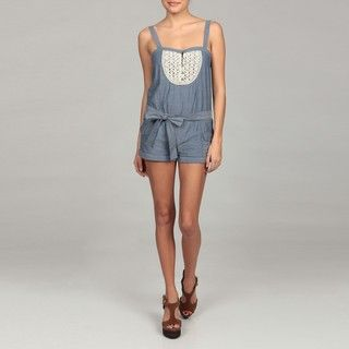 Jessica Simpson Juniors Crochet Detail Belted Chambray Romper