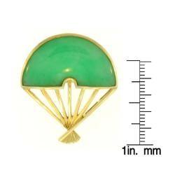 Mason Kay 14k Yellow Gold Jadeite Oriental Fan Pin