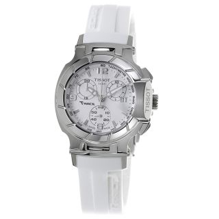 Tissot Womens T Race White Dial Rubber Strap Chronograph Watch