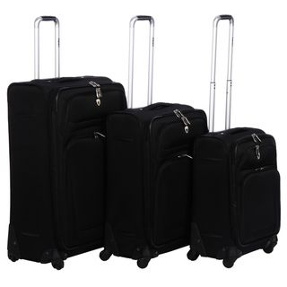 Olympia Eureka Black 3 piece Spinner Luggage Set