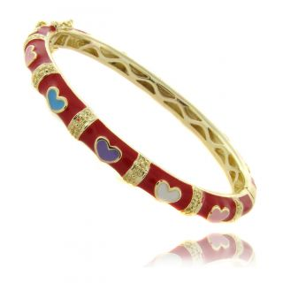 Molly and Emma 14k Gold Overlay Childrens Red Heart Bracelet MSRP $