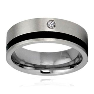Two tone Stainless Steel Cubic Zirconia Inlay Ring