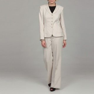 Emily Womens Natural 5 button Pleated Pant Suit