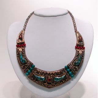 Brass and Silver Turquoise and Coral Bead Necklace (Nepal)