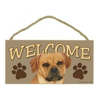 Puggle Wood Welcome Door Sign 5x10