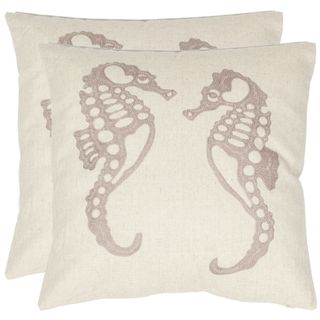 Seahorse 18 inch Cream/ Taupe Decorative Pillows (Set of 2