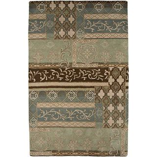 Hand tufted Blue and Brown Wool Rug (5 x 8)
