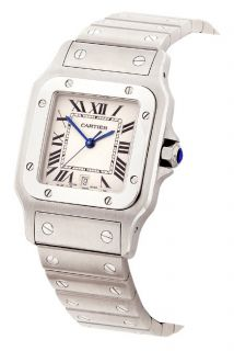 Cartier Santos Mens Quartz Steel Watch