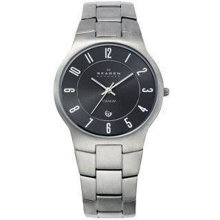 Skagen Mens Titanium Gunmetal Dial Watch Today $94.99
