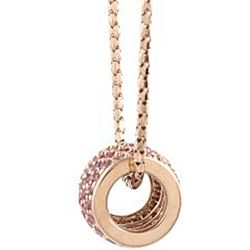 Beverly Hills Charm 14k Rose Gold Pink Sapphire Barrel Necklace
