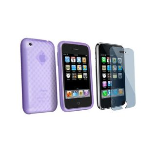 Eforciy Paerned Rubber Skin Case/ Screen Proecor for iPhone 3G
