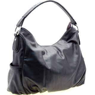 Dasein Black Faux Leather Hobo Bag