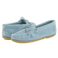 Minnetonka Kilty Suede Moc Light Blue Suede Slippers   Size 11