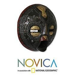 Handcrafted Sese Wood Sign of Protection African Mask (Ghana