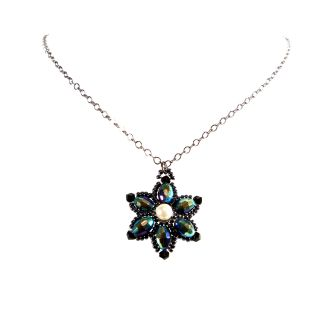 Gunmetal Chain Handmade Flower Design Beaded Crystal Necklace Today $