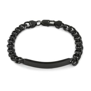 West Coast Jewelry Stainless Steel Black plated ID Bracelet