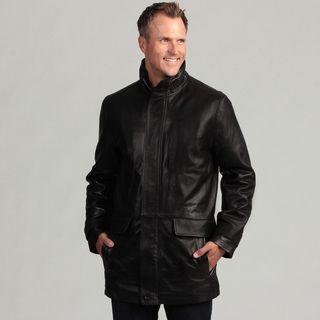 Izod Mens Black Lambskin Leather Coat