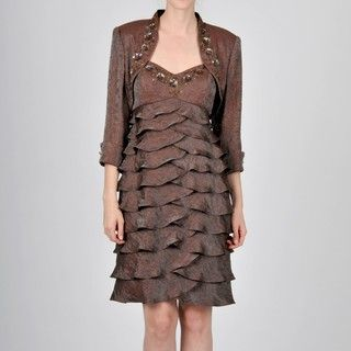 Ignite Evening Womens Brown Sequin Embellished Bolero Jacket Dress