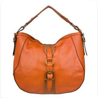 Burberry Tangerine Leather Hobo Bag